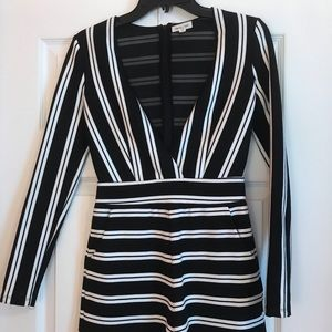 White and black pinstripe jumper